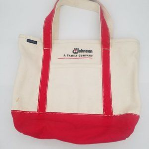 Lands' End Canvas Tote Red Zip Top SC Johnson